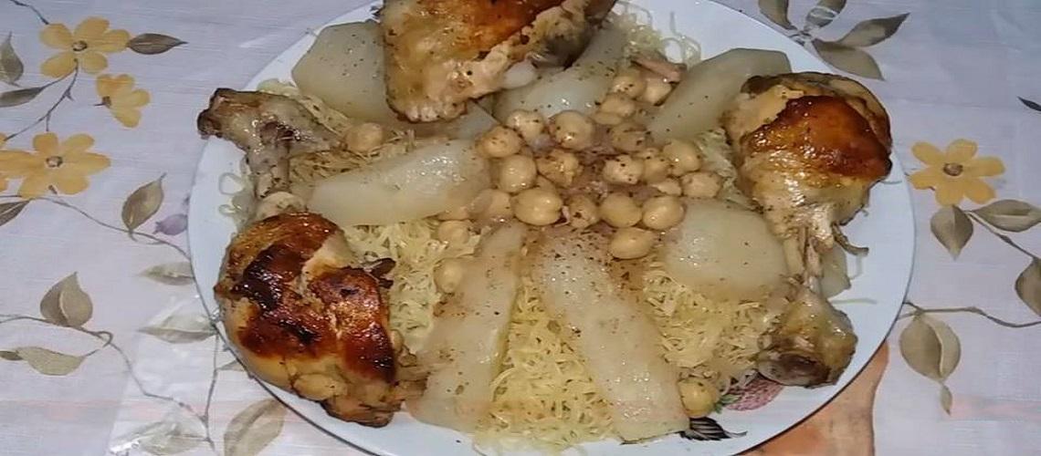 طريقة تحضير الرشتة الجزائرية بالدجاج